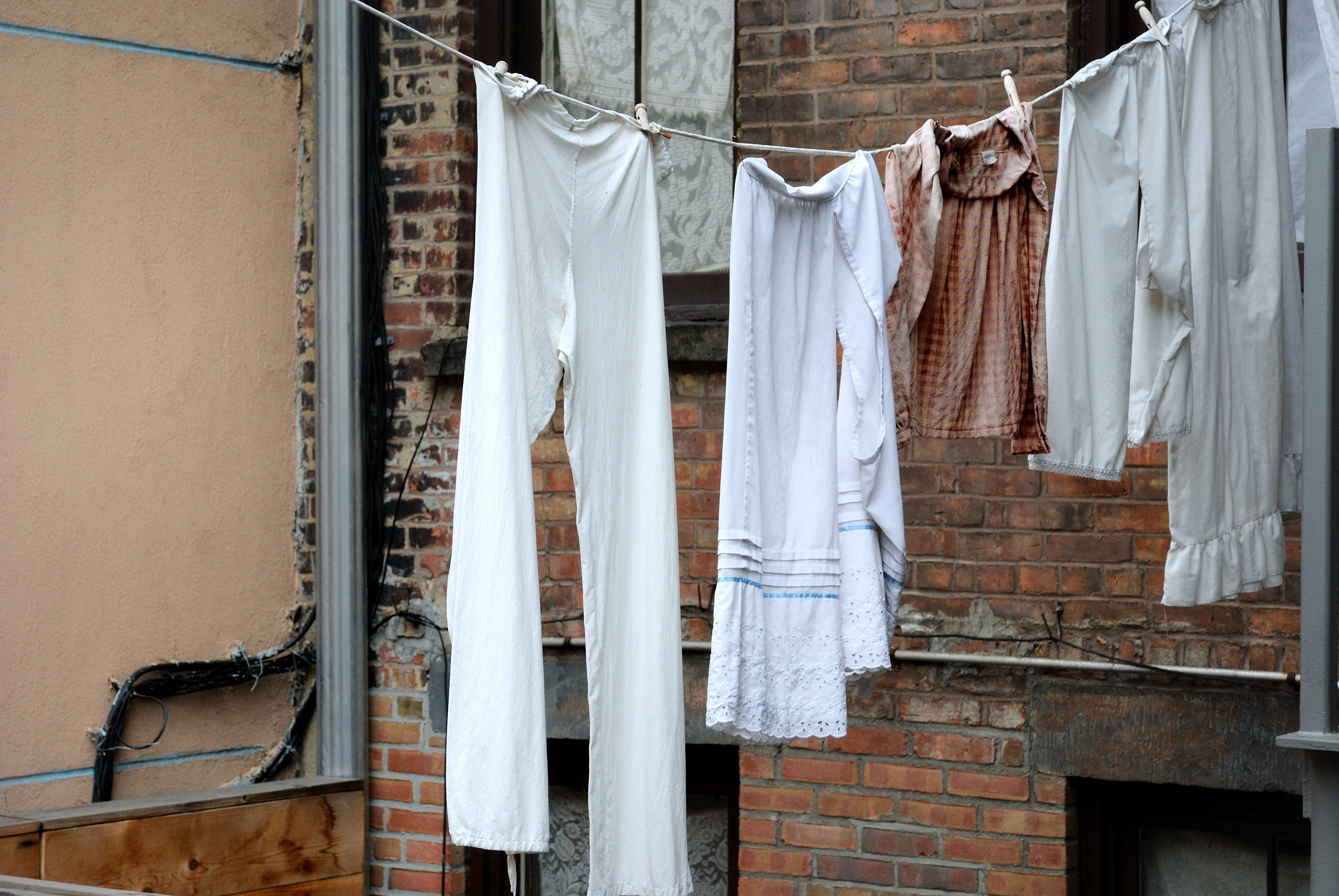 Classic scene of hanging clothing in new york city